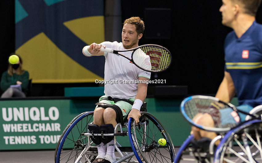 Rotterdam, The Netherlands,7 march  2021, ABNAMRO World Tennis Tournament, Ahoy,  <br /> Doubles Final Wheelchair: Alfie Hewett (GBR) / Gordon Reid (GBR).<br /> Photo: www.tennisimages.com/henkkoster