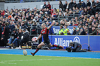 20130303 Copyright onEdition 2013©.Free for editorial use image, please credit: onEdition..Charlie Hodgson of Saracens takes a penalty kick during the Premiership Rugby match between Saracens and London Welsh at Allianz Park on Sunday 3rd March 2013 (Photo by Rob Munro)..For press contacts contact: Sam Feasey at brandRapport on M: +44 (0)7717 757114 E: SFeasey@brand-rapport.com..If you require a higher resolution image or you have any other onEdition photographic enquiries, please contact onEdition on 0845 900 2 900 or email info@onEdition.com.This image is copyright onEdition 2013©..This image has been supplied by onEdition and must be credited onEdition. The author is asserting his full Moral rights in relation to the publication of this image. Rights for onward transmission of any image or file is not granted or implied. Changing or deleting Copyright information is illegal as specified in the Copyright, Design and Patents Act 1988. If you are in any way unsure of your right to publish this image please contact onEdition on 0845 900 2 900 or email info@onEdition.com