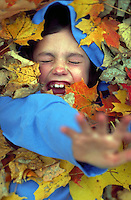 A laughing child plays in a pile of autumn leaves.