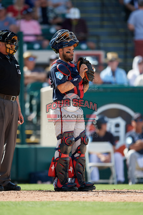 Atlanta Braves catcher Raffy Lopez (55) during a Grapefruit League Spring Training game against the Detroit Tigers on March 2, 2019 at Publix Field at Joker Marchant Stadium in Lakeland, Florida.  Tigers defeated the Braves 7-4.  (Mike Janes/Four Seam Images)