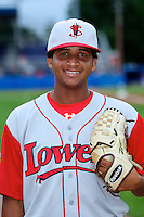 Lowell Spinners Yunior Ortega #45 poses for a photo before a game against the Batavia Muckdogs at Dwyer Stadium on July 7, 2012 in Batavia, New York.  Batavia defeated Lowell 3-0.  (Mike Janes/Four Seam Images)