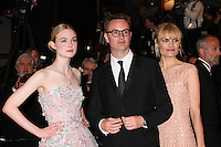 ELLE FANNING AND DIRECTOR NICOLAS WINDING REFN WITH HIS WIFE - RED CARPET OF THE FILM 'THE NEON DEMON' AT THE 69TH FESTIVAL OF CANNES 2016