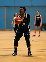 TaYani Clark of Sevenoaks Suns with the free-throw during the WBBL Championship match between Sevenoaks Suns and Newcastle Eagles at Surrey Sports Park, Guildford, England on 20 March 2021. Photo by Liam McAvoy