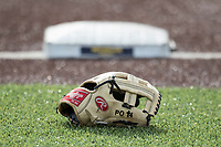 Michigan Wolverines baseball glove before the NCAA baseball game on April 18, 2017 at Ray Fisher Stadium in Ann Arbor, Michigan. Michigan defeated Michigan State 12-4. (Andrew Woolley/Four Seam Images)