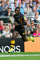 Christian Wade of London Wasps in action during the Aviva Premiership match between London Wasps and Harlequins at Twickenham on Saturday 1st September 2012 (Photo by Rob Munro).