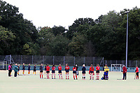 A one minute silence ahead of Romford HC Ladies vs Upminster HC Ladies 3rd XI, East Region League Field Hockey at Bower Park Academy on 26th September 2020