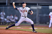Danville Braves starting pitcher Andrew Waszak #30 delivers a pitch during a game against the Johnson City Cardinals at Howard Johnson Field September 4, 2014 in Johnson City, Tennessee. The Braves defeated the Cardinals 6-1. (Tony Farlow/Four Seam Images)