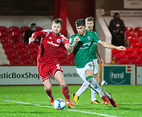 Lincoln City's Lewis Montsma battles with Accrington Stanley's Mark Hughes<br /> <br /> Photographer Andrew Vaughan/CameraSport<br /> <br /> The EFL Sky Bet League One - Accrington Stanley v Lincoln City - Saturday 21st November 2020 - Crown Ground - Accrington<br /> <br /> World Copyright © 2020 CameraSport. All rights reserved. 43 Linden Ave. Countesthorpe. Leicester. England. LE8 5PG - Tel: +44 (0) 116 277 4147 - admin@camerasport.com - www.camerasport.com