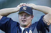 Jason Giambi of the New York Yankees before a 2002 MLB season game against the Los Angeles Angels at Angel Stadium, in Anaheim, California. (Larry Goren/Four Seam Images)