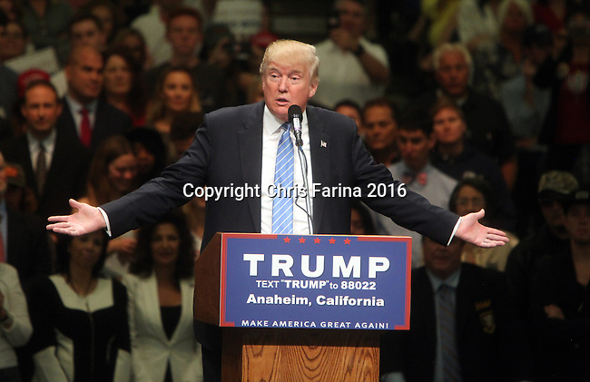 May 25, 2016 , Anaheim,Ca  --- Republican presidential candidate Donald Trump speaks at a campaign rally at the Anaheim Convention Center in Anaheim,California,  Wednesday, May 25,2016. <br />  ---   Photo Credit : Chris Farina - Polaris Images