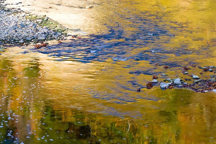 Sunrise light on the river viewed from the Deer's Mill Covered Bridge in Shades State Park; Parke County, IN