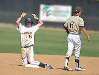 Sunny Hills' Zach Peyton celebrates his hit which scored his team's first run during their quarterfinal playoff game which they won 3-2.