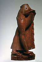 """India: Widow Startled by Scorpion. 5th century A.D. Red sandstone, 29 inches high. Probably Mathura, Uttar Pradesh. """"Celebrates the beauty of the female body"""". The scorpion is on the base. Chandra, SCULPTURE OF INDIA."""