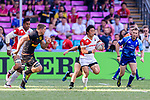 Katsuyuki Sakai of Japan (R) runs with the ball during the HSBC World Rugby Sevens Series Qualifier Final match between Germany and Japan as part of the HSBC Hong Kong Sevens 2018 on 08 April 2018 in Hong Kong, Hong Kong. Photo by Marcio Rodrigo Machado / Power Sport Images