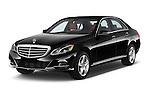 2015 Mercedes Benz E Class Elegance 4 Door Sedan angular front stock photos of front three quarter view