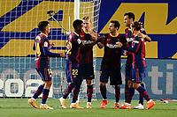 27th September 2020; Camp Nou, Barcelona, Catalonia, Spain; La Liga Football, Barcelona versus Villareal;  Leo Messi celebrates after scoring a penalty for Barcelona's 3rd goal