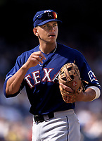 Alex Rodriguez of the Texas Rangers during a 2001 season MLB game at Angel Stadium in Anaheim, California. (Larry Goren/Four Seam Images)