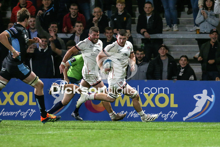 Friday 24th September 2021<br /> <br /> Nick Timoney scores during the URC Round 1 clash between Ulster Rugby and Glasgow Warriors at Kingspan Stadium, Ravenhill Park, Belfast, Northern Ireland. Photo by John Dickson/Dicksondigital