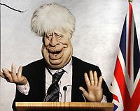 Caricature of Prime Minister Boris Johnson on large advertisement board for satirical television puppet show Spitting Image inside Westminster Tube Station. London September 30th 2020<br /> <br /> Photo by Keith Mayhew