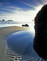 Low tide  pools and sun at Bandon Beach, Oregon