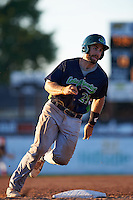 Vermont Lake Monsters catcher Nick Collins (20) rounds third during a game against the Batavia Muckdogs August 9, 2015 at Dwyer Stadium in Batavia, New York.  Vermont defeated Batavia 11-5.  (Mike Janes/Four Seam Images)