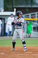 William Contreras (24) of the Danville Braves at bat against the Burlington Royals at Burlington Athletic Stadium on August 15, 2017 in Burlington, North Carolina.  The Royals defeated the Braves 6-2.  (Brian Westerholt/Four Seam Images)