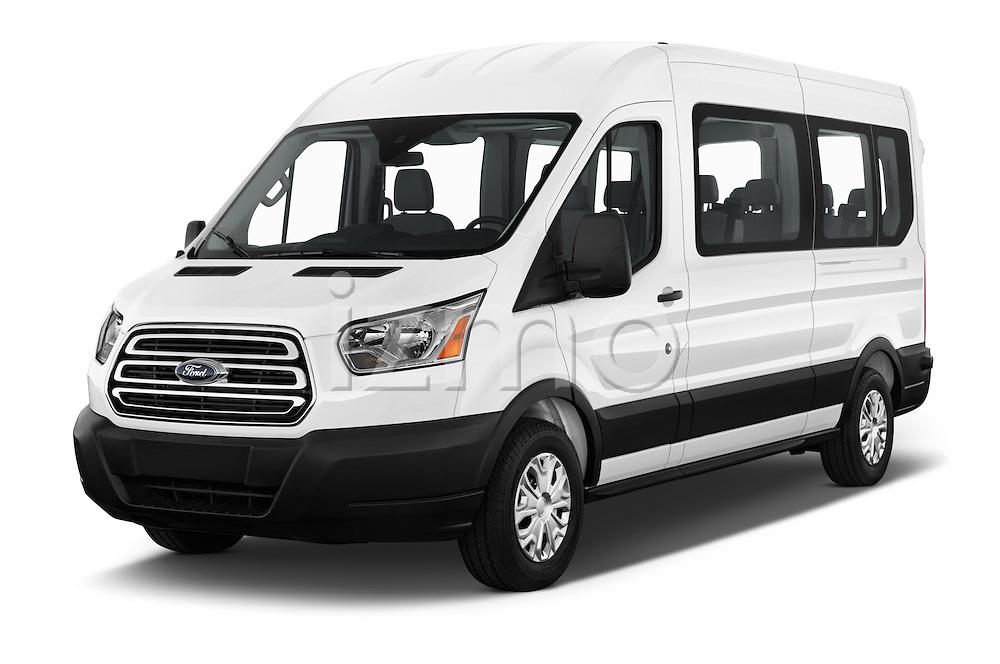 2016 Ford Transit 350-XLT-Med-Roof 4 Door Passenger Van Angular Front stock photos of front three quarter view