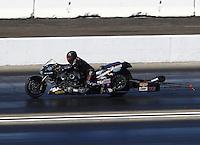 Feb 12, 2017; Pomona, CA, USA; NHRA top fuel nitro Harley rider Bob Malloy during the Winternationals at Auto Club Raceway at Pomona. Mandatory Credit: Mark J. Rebilas-USA TODAY Sports