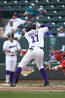 Micker Adolfo (27) of the Winston-Salem Dash at bat against the Salem Red Sox at BB&T Ballpark on April 22, 2018 in Winston-Salem, North Carolina.  The Red Sox defeated the Dash 6-4 in 10 innings.  (Brian Westerholt/Four Seam Images)