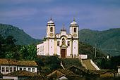 Ouro Preto, Brazil. Baroque colonial church Nossa Senhora dos Pretos (Santa Higenia); UNESCO World Heritage site, Minas Gerais.