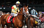 April 05, 2014: Skyway and Stewart Elliott win the 1st race, Maiden for 2 year old fillies.   Owned by John Oxley and trained by Mark Casse.  Candice Chavez/ESW/CSM