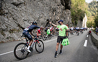 Egan Bernal (COL/Ineos Grenadiers) cathing a feedbag on his way up towards the Col de Porte<br /> <br /> Stage 16 from La Tour-du-Pin to Villard-de-Lans (164km)<br /> <br /> 107th Tour de France 2020 (2.UWT)<br /> (the 'postponed edition' held in september)<br /> <br /> ©kramon