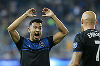 SAN JOSE, CA - AUGUST 24: Andres Rios #25 of the San Jose Earthquakes celebrates scoring during a Major League Soccer (MLS) match between the San Jose Earthquakes and the Vancouver Whitecaps FC  on August 24, 2019 at Avaya Stadium in San Jose, California.