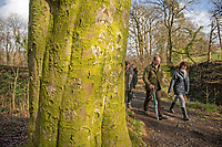 Pictured: walking through the woods at Gnoll Country Park are Lesley Griffiths (AM), Minister for Enviroment, Energy and Rural Affairs (right) alongside Chris Matts, Woodland Trust Manager for South and West Wales and Natalie Buttriss, Director of Wales - The Woodland Trust/Coed Cadw.<br /> Re: National Forest launch at the Woodland Trust event high on the mountainside above Neath in South Wales this morning at the newly planted Coed Cadw woodland.