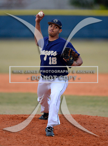 Janko Beras during a varsity baseball game between the Boone Bears and University Cougars at University High School on February 20, 2013 in Orlando, Florida.  (Copyright Mike Janes Photography)
