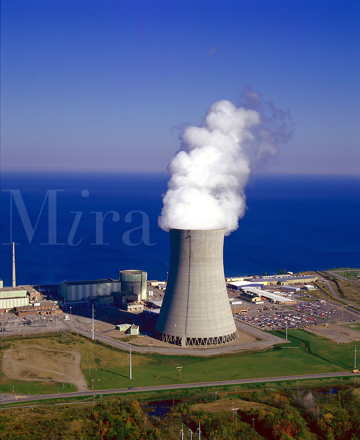 Nine Mile Point nuclear power plant on the shore of Lake Ontario, electricity, energy, environment, 08-5250. Oswego New York United States.