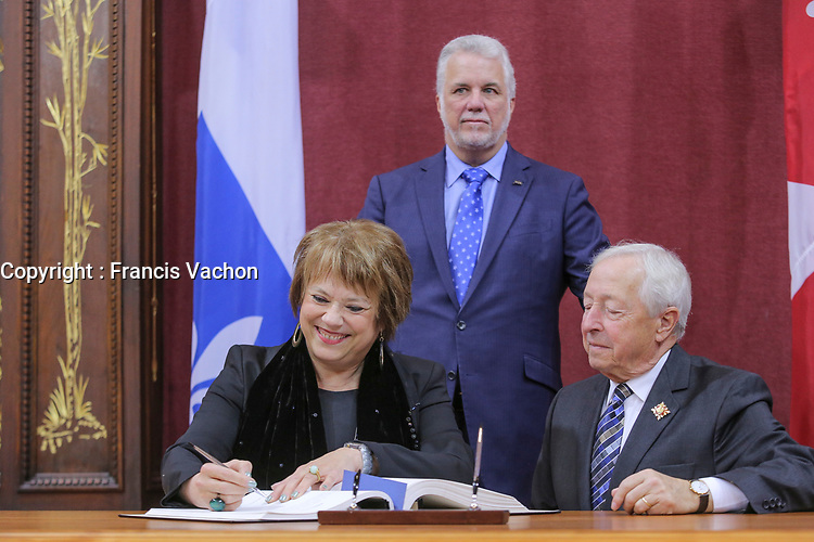 Helene David is sworn in as Ministre responsable de líEnseignement superieur & Ministre responsable de la Condition feminine (Minister of of Higher Education & Women condition) of the new Liberal cabinet at the National Assembly in Quebec city October 11, 2017.<br /> <br /> PHOTO :  Francis Vachon - Agence Quebec Presse