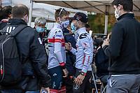 Tadej Pogacar (SVN/UAE-Emirates) greeted by Marc Hirschi (SUI/Sunweb) poft-finish<br /> <br /> 106TH Liège-Bastogne-Liège 2020 (1.UWT)<br /> 1 Day Race Liège-Liège 257km