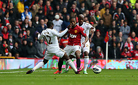 Pictured: (L-R) Nathan Dyer, Patrice Evra, Dwight Tiendalli.<br />