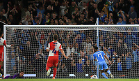21st September 2021; Etihad Stadium,Manchester, England; EFL Cup Football Manchester City versus Wycombe Wanderers; Raheem Sterling of Manchester City follows in as the shot of team-mate Kevin De Bruyne of Manchester City finds the net for their team's equalising goal after 29 minutes