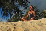 Beach goer on Kailua Beach in Hawaii, Oahu.