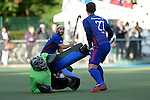 GER - Mannheim, Germany, October 09: During the men hockey match between Mannheimer HC (blue) and TSV Mannheim (red) on October 9, 2016 at Mannheimer HC in Mannheim, Germany. Final score 4-3 (HT 1-1). (Photo by Dirk Markgraf / www.265-images.com) *** Local caption ***?Niklas Garst #89 of TSV Mannheim, Timm Haase #27 of Mannheimer HC, Guido Barreiros #26 of Mannheimer HC