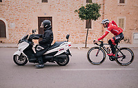 After John Degenkolb (DEU/Trek-Segafredo) won his very first race of the new season, he leaves the finish village to train an extra 50km behind the scooter towards the team hotel<br /> <br /> 27th Challenge Ciclista Mallorca 2018<br /> Trofeo Campos-Porreres-Felanitx-Ses Salines: 176km