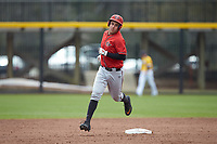 Brian Leonhardt (21) of the San Diego State Aztecs rounds second base after hitting a two-run home run against the UNCG Spartans at Springs Brooks Stadium on February 16, 2020 in Conway, South Carolina. The Spartans defeated the Aztecs 11-4.  (Brian Westerholt/Four Seam Images)
