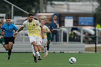 HARTFORD, CT - AUGUST 17: Claudio Repetto #18 of Charleston Battery passes the ball during a game between Charleston Battery and Hartford Athletic at Dillon Stadium on August 17, 2021 in Hartford, Connecticut.