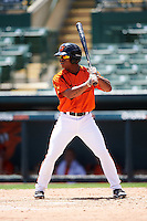 GCL Orioles pinch hitter Markel Jones (17) at bat during a game against the GCL Twins on August 11, 2016 at the Ed Smith Stadium in Sarasota, Florida.  GCL Twins defeated GCL Orioles 4-3.  (Mike Janes/Four Seam Images)