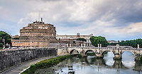 Fine Art Landscape Print Photograph. The Mausoleum of Hadrian, usually known as the Castel Sant'Angelo in Rome, Italy.<br />