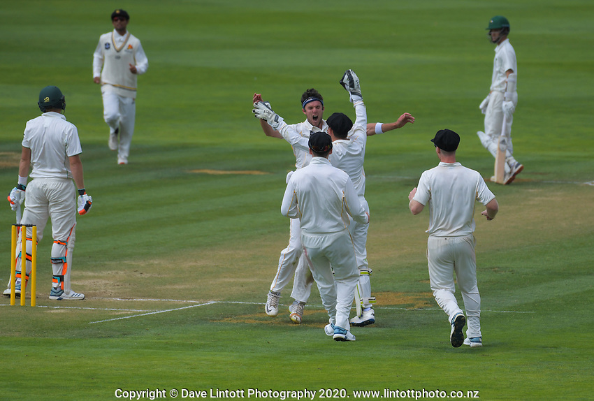 Jamie Gibson celebrates a wicket during day two of the Plunket Shield cricket match between the Wellington Firebirds and Central Districts at Basin Reserve in Wellington, New Zealand on Tuesday, 3 March 2020. Photo: Dave Lintott / lintottphoto.co.nz