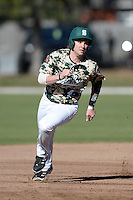 Slippery Rock outfielder Logan Brown (4) during a game against Upper Iowa University at Frank Tack Field on March 14, 2014 in Clearwater, Florida.  Slippery Rock defeated Upper Iowa 14-9.  (Mike Janes/Four Seam Images)