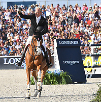 MIAMI BEACH, FL - APRIL 15: Jerome Guery at the Longines Global Champions Tour stop in Miami Beach. The winner was Jerome Guery (BE), second place was Alberto Zorzi (IT) and third place was Nicola Philippaerts (BE). Also riding but did not make the finals was Georgina Bloomberg, Jessica Rae Springsteen and Jennifer Gates on April 15, 2017 in Miami Beach, Florida.<br /> <br /> People:  Jerome Guery